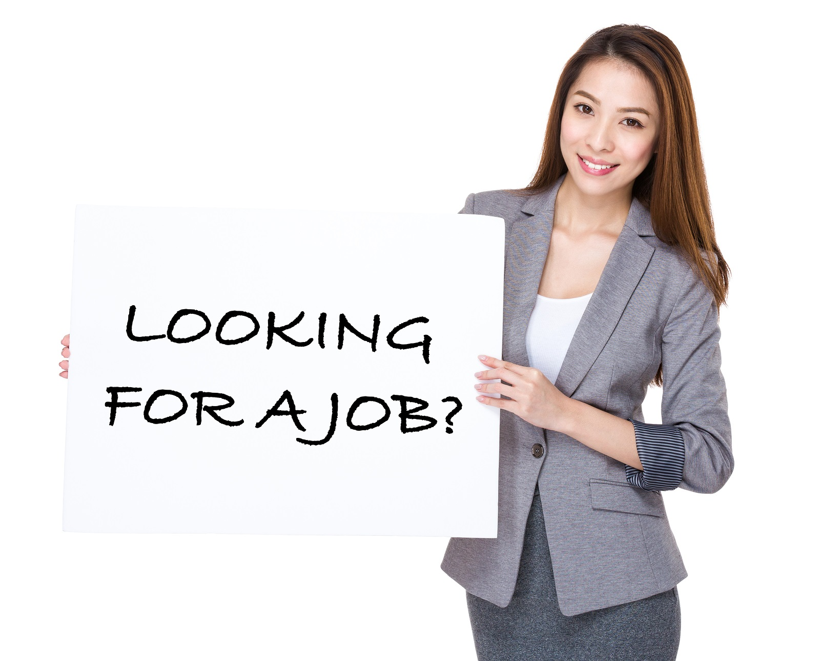 Businesswoman present on white board with phrase of looking for